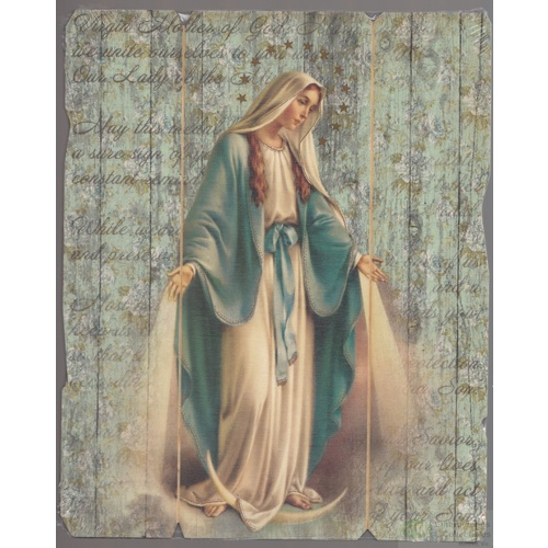 Miraculous, Vintage Look Wood Plaque, Crafted In Italy, 235mm x 190mm