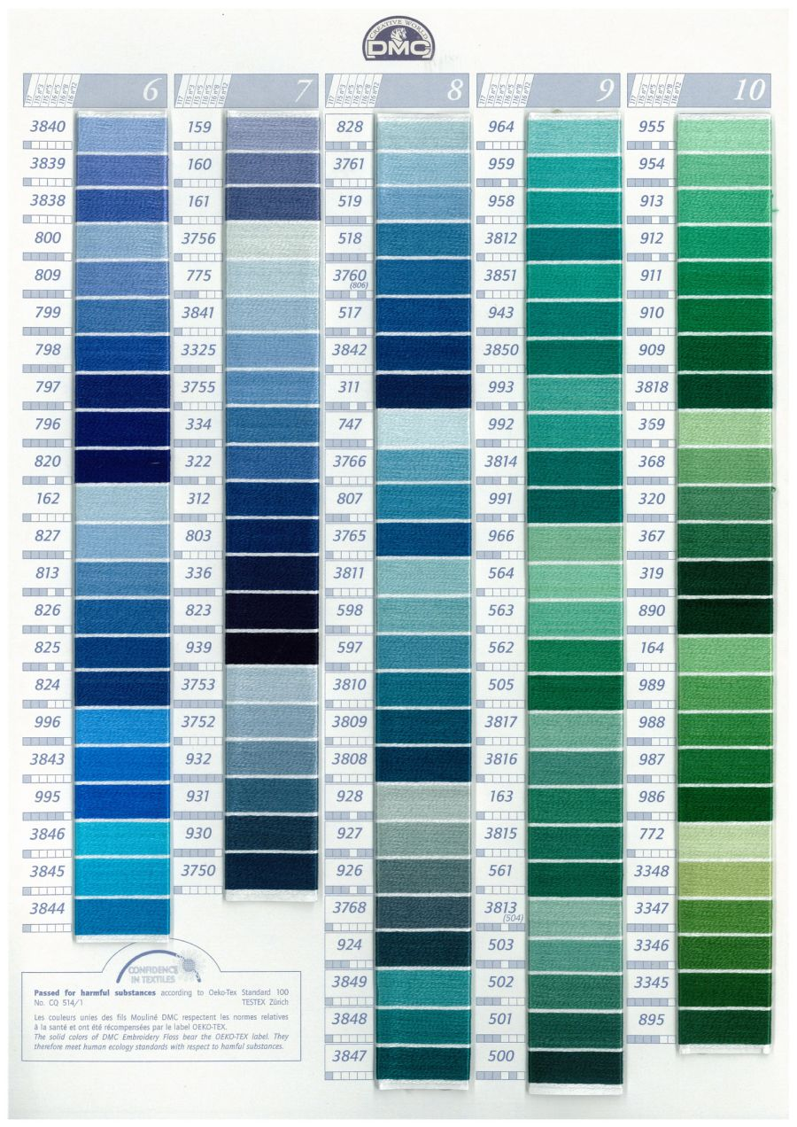 DMC W100 Real Thread Colour Chart Page 2