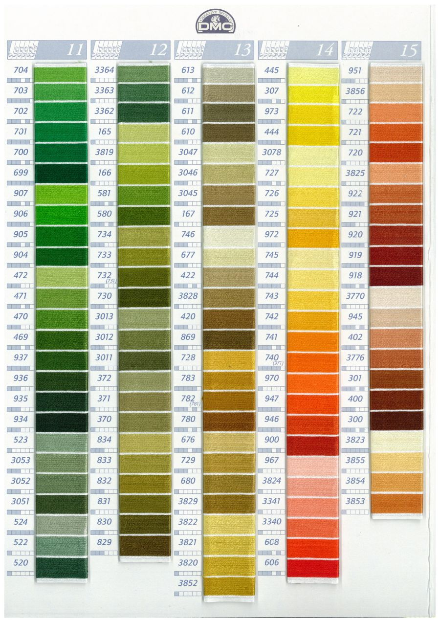 DMC W100 Real Thread Colour Chart Page 3